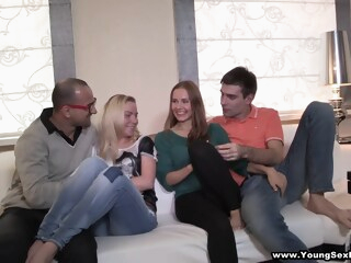 Anna, Angela Sharing the Fruit of Group Sex iceporn blonde brunette creampie