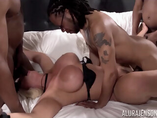 Alura Jenson in My First Interracial Gang Bang! - AluraJensonXXX iceporn big cock big tits blonde