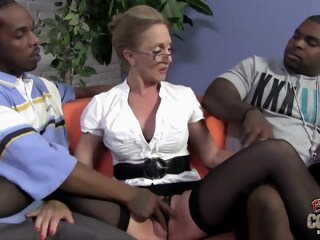 Mature blonde woman, Jenna Covelli cant hold back from having threesomes with handsome, black guys iceporn big cock big tits blonde