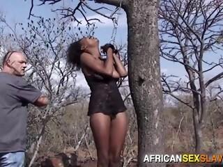 Ebony Girl Tied, Punished and Fucked Hard In Forest iceporn african bdsm ebony