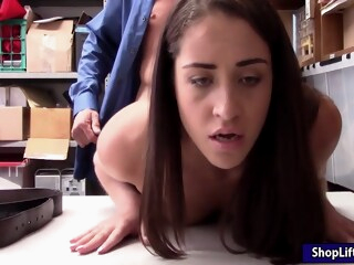 Suspected skinny thief pursuaded to strip and fuck officer iceporn amateur brunette handjob
